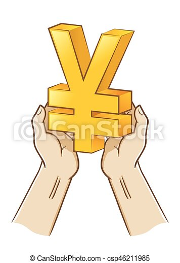 Two Hand Holding Yen Currency Symbol Vector Stock Of Two Hand
