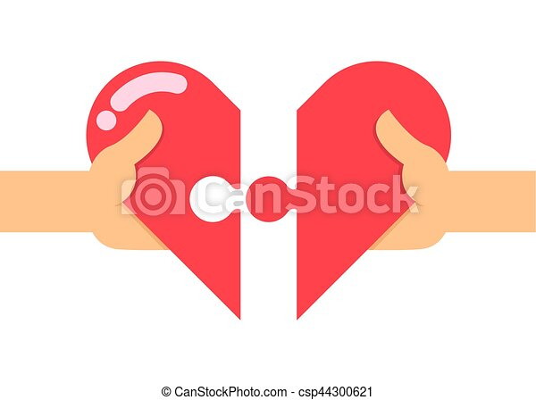 Line Art Love Heart : Two hands connecting a love puzzle vector stock of