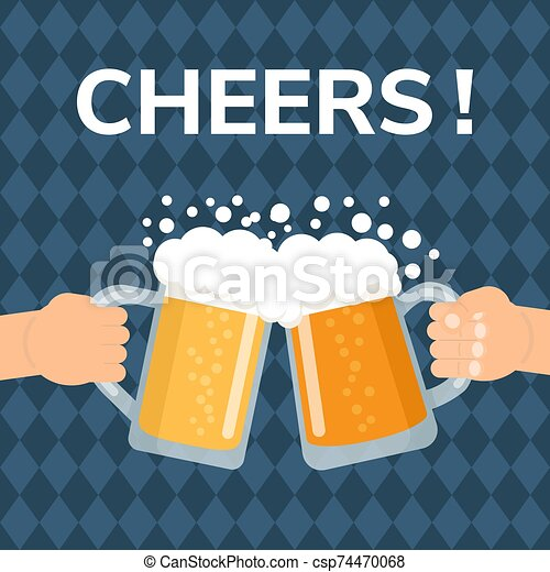Two hands holding and clinking with beer glasses. - csp74470068