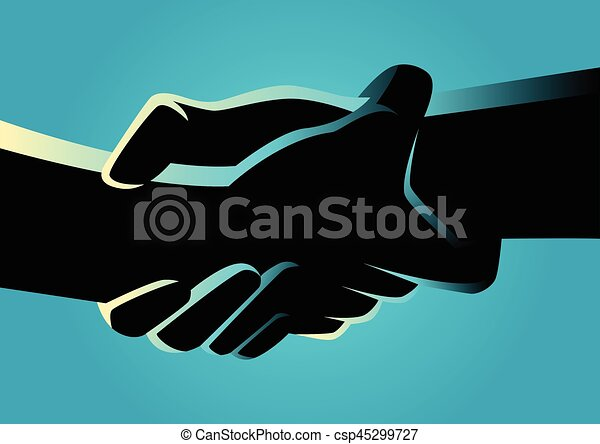 Two hands holding each other strongly - csp45299727