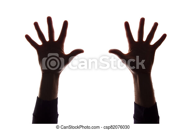 Two hand's young man with fingers apart, five - silhouette, concept - csp82076030