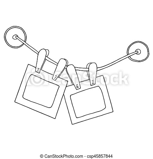 Two Hanging Photo Frames With Clips On The Rope And Silicone Suction Cups Sketch Graphic