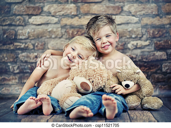 Two happy brothers playing toys - csp11521705