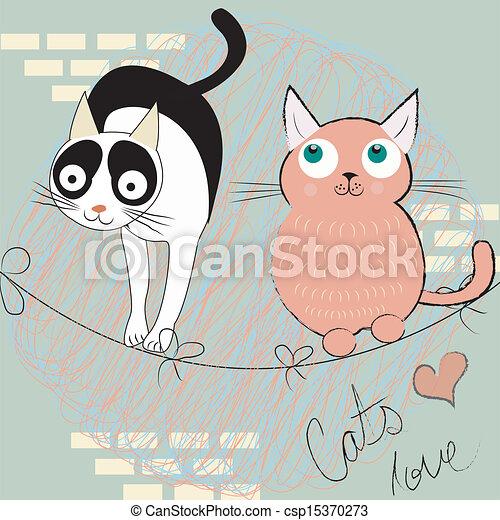 two happy cats - csp15370273