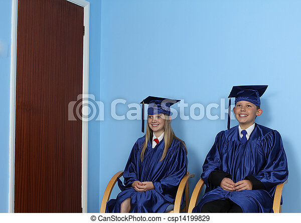 Two Happy Students Sitting On Chair - csp14199829