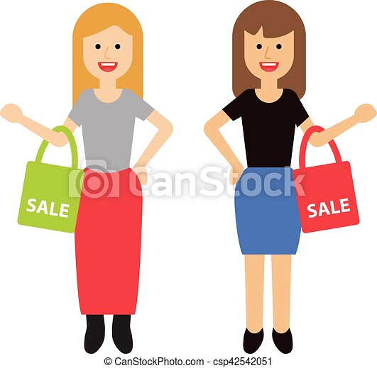 two happy women with shopping bags rh canstockphoto com Woman Shopping Silhouette Clip Art Black Woman Shopping Clip Art