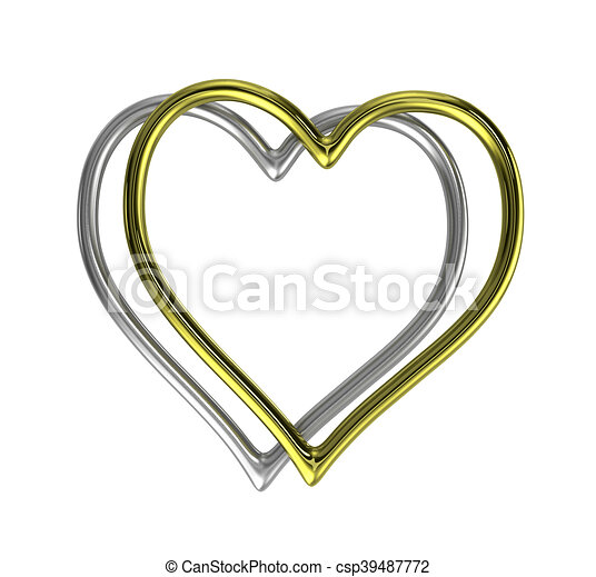 Two heart shaped golden and silver rings frame isolated on white ...