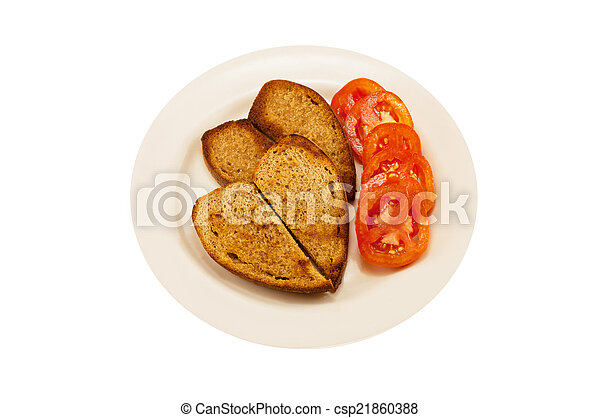 two heart-shaped toast and tomato - csp21860388