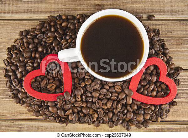 two hearts and coffee - csp23637049