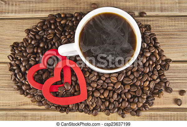 two hearts and coffee - csp23637199