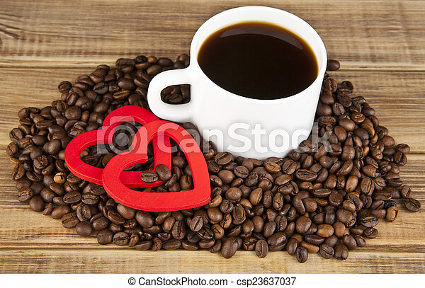 two hearts and coffee - csp23637037