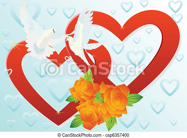 Clip Art Line Of Hearts : Two hearts and doves white flying in the vector