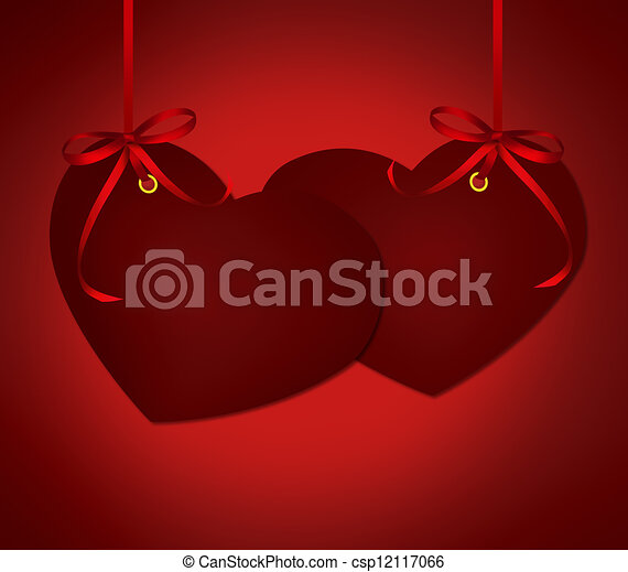 Two hearts card invitation with red ribbons bow on dark red two hearts card invitation with red ribbons bow on dark red background stock illustration stopboris Image collections