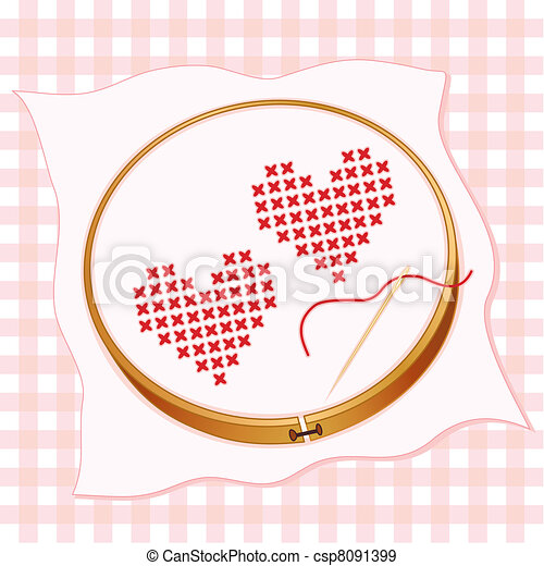 Two Hearts Cross Stitch Embroidery - csp8091399