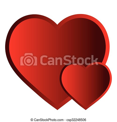 two hearts isolated object vector valentine two red hearts rh canstockphoto com heart tattoo vector hearts vector image