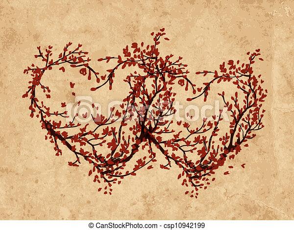 Two hearts made from sakura tree - csp10942199