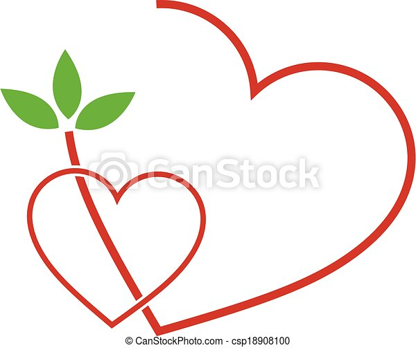 Two Hearts with leaves - csp18908100