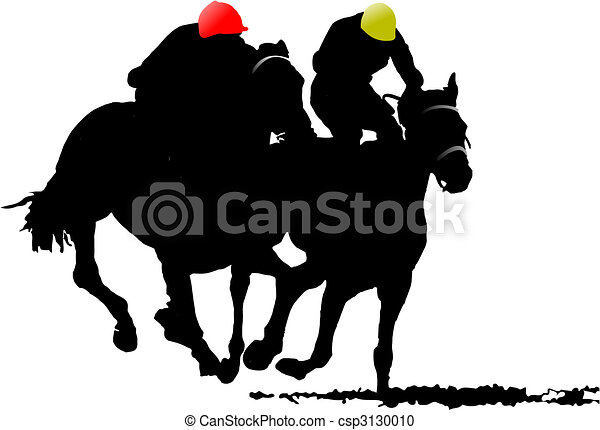Two horse silhouettes. Vector illustration - csp3130010
