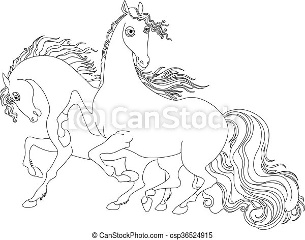 two horses black and white illustration - csp36524915