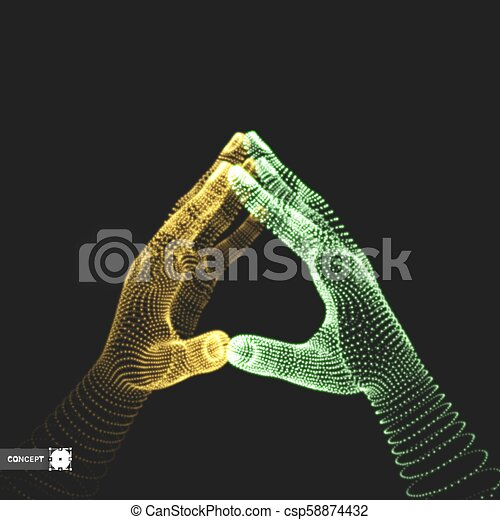 Two human hands. Connection structure. Business concept. 3D vector illustration. - csp58874432