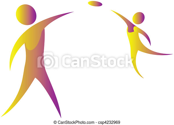 two humans playing with frisbee - csp4232969