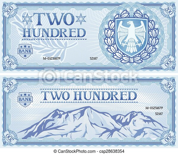 two hundred abstract banknote - csp28638354