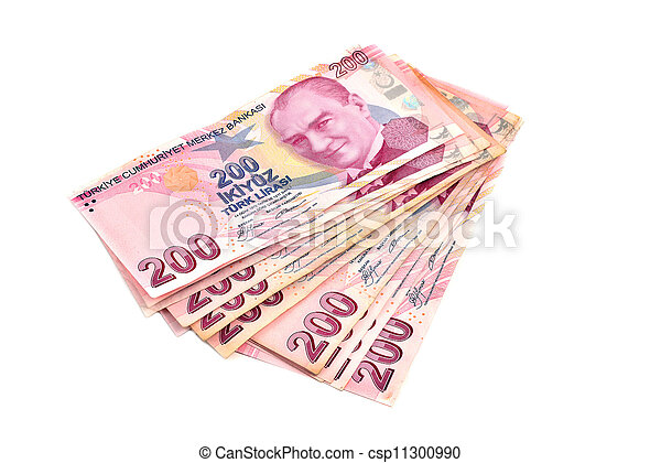two hundred Turkish Lira on a white background - csp11300990