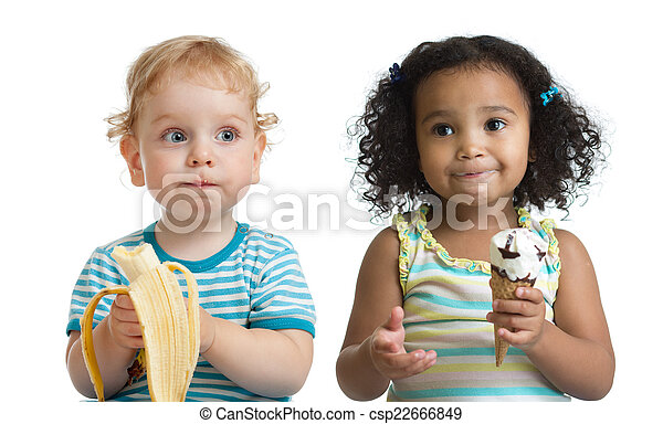 Two kids boy and girl eading fruit and ice cream isolated - csp22666849
