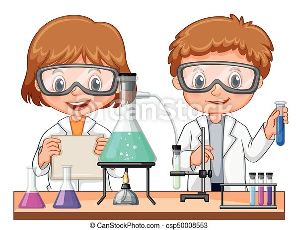 two kids doing science experiment in class illustration rh canstockphoto com Travel Clip Art science experiment clipart
