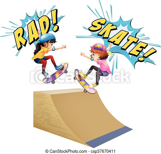 two kids on skateboards illustration vector clip art search rh canstockphoto com skateboard clip art free skateboarding clipart