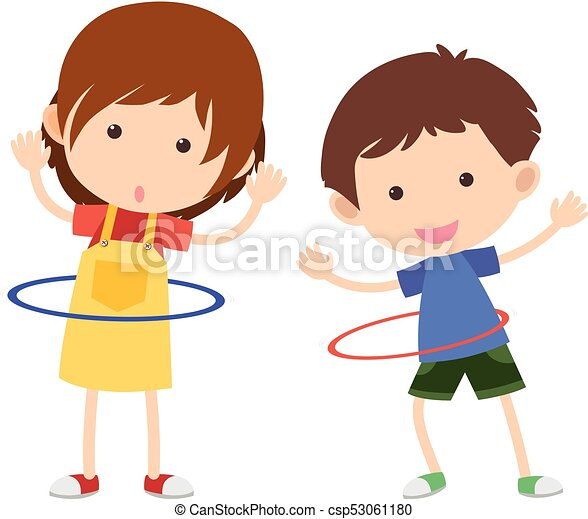 two kids playing hulahoop illustration vector search clip art rh canstockphoto ie hula hoop clipart free hula hoop clipart free