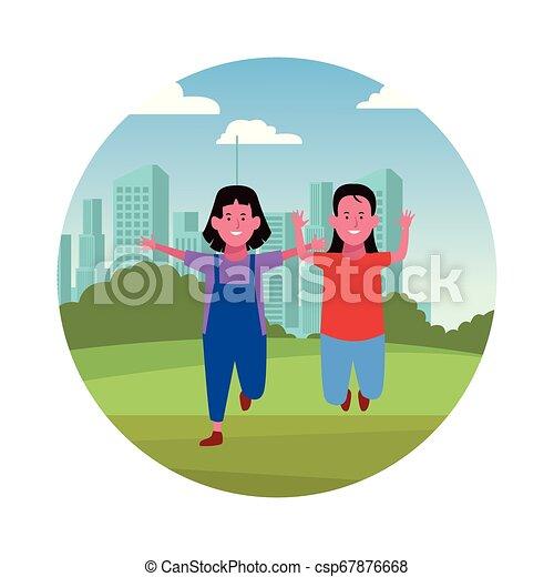 Two kids smiling cartoons - csp67876668