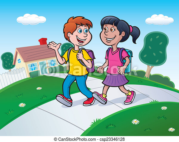 two kids walking to school cartoon illustration of a boy iPhone Clip Art No Cell Phone Clip Art