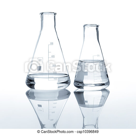Two laboratory flasks with a clear liquid - csp10396849