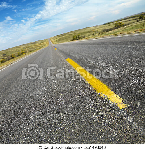 Two lane road South Dakota. - csp1498846