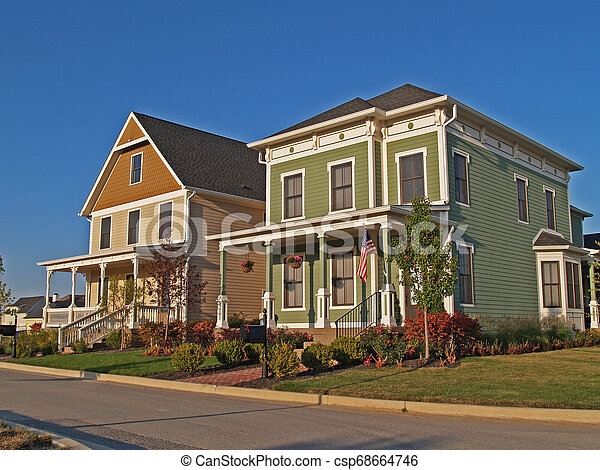 Two Large Historical Styled Two-Story Homes - csp68664746