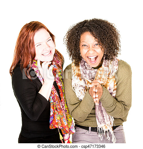 Two Laughing Beautiful Women - csp47173346