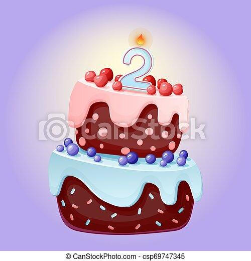 Linda caricatura de 2 años pastel festivo con velas número dos. Galletas de chocolate con bayas, cerezas y arándanos. Para fiestas, aniversarios - csp69747345