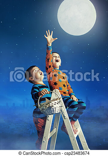 Two Little Brothers Catching The Moon
