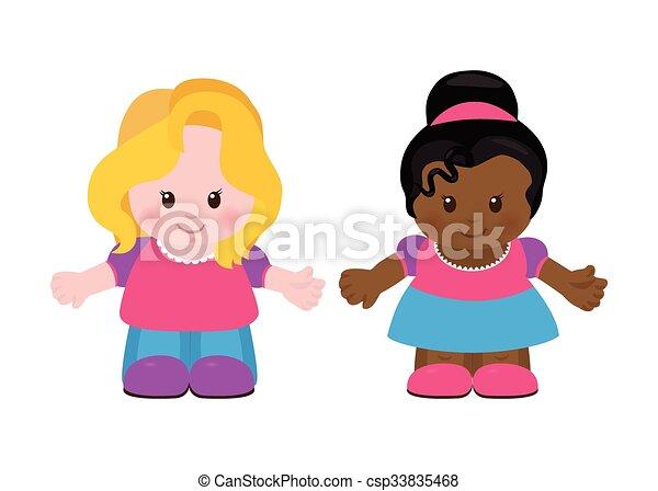 Line Art Illustration Style : Two little girls cartoon style. girls. vector clip