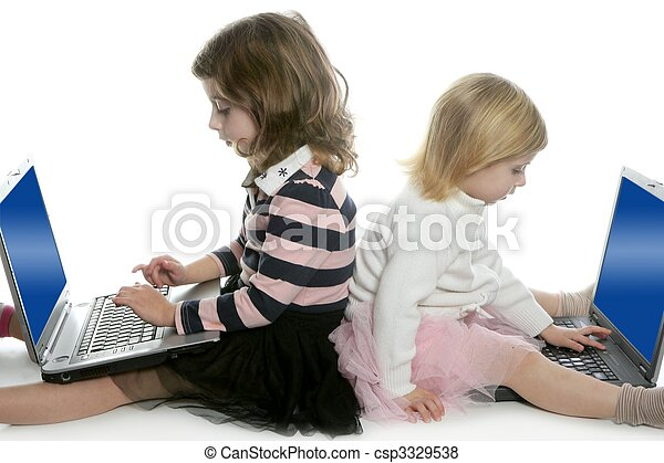 two little girls sister with computer laptops - csp3329538