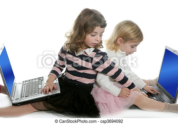 two little girls sister with computer laptops - csp3694092