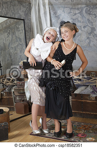 Two little Old-fashion girls have fun - csp18582351