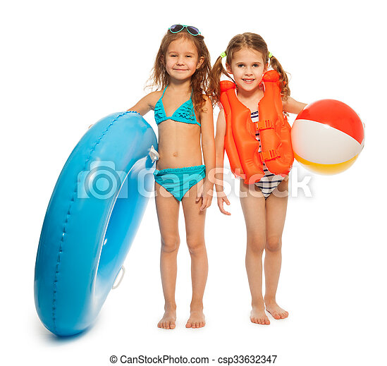 Two little swimmers with rubber ring and wind-ball - csp33632347