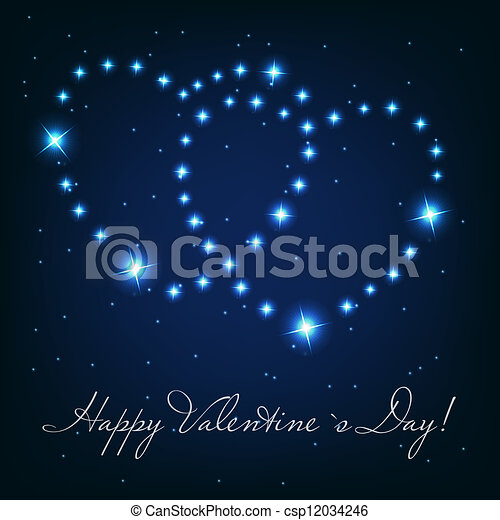 Two love heart from beautiful bright stars on the background of - csp12034246