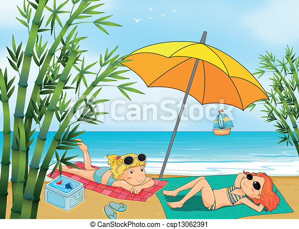 two lovely girls relaxing at the beach illustration of two lovely