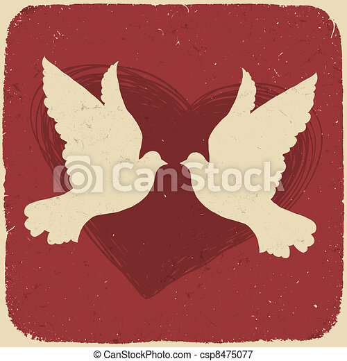 Two lovers doves. Retro styled illustration, vector, EPS10 - csp8475077