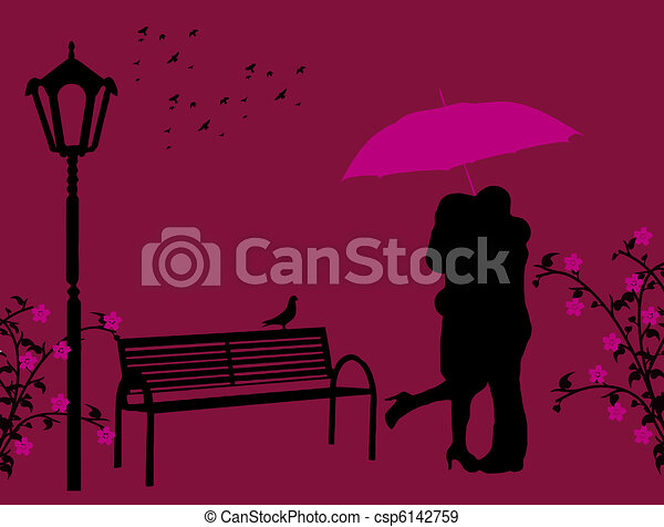 Two Lovers Lovers In A Park Under Red Umbrella Vector Illustration
