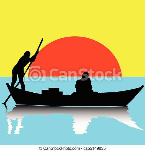 Two man on boat illustration.