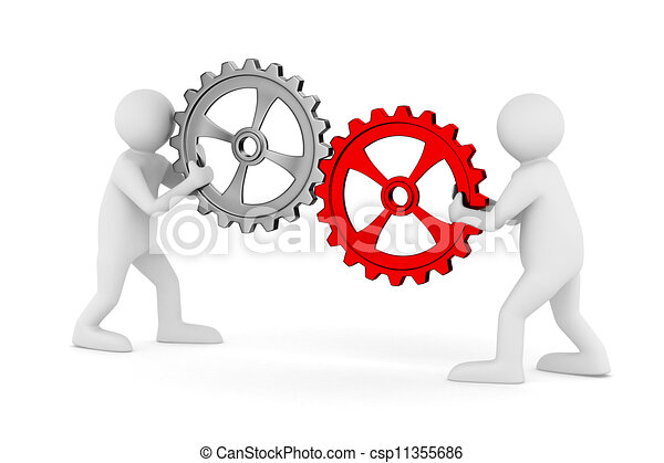 two man with gears. Isolated 3D image - csp11355686